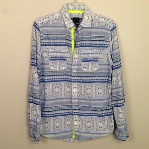 Bar III printed long sleeve button front shirt.